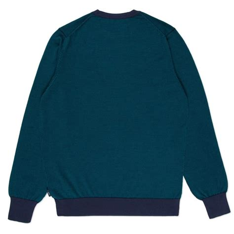 Sweater Us Air Navy Rockzillastore 1 paul smith s navy and teal stripe wool sweater in blue for lyst