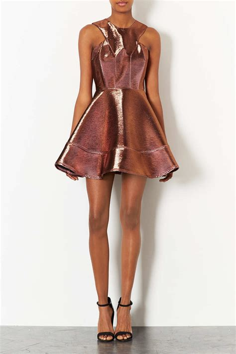 Topshop Acetate Dress by Topshop 2 Tone Bonded Skater Dress In Pink Lyst