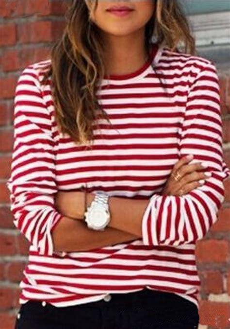 Sleeve Print Striped T Shirt white striped print sleeve neck fall