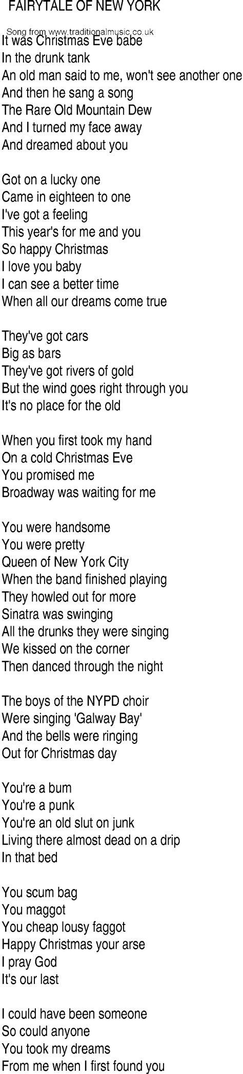 song nyc irish music song and ballad lyrics for fairytale of new york