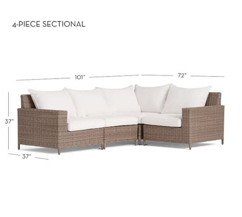 torrey  weather wicker  piece square arm sectional