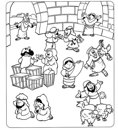 coloring page jesus cleansing temple of jesus cleansing temple free coloring pages