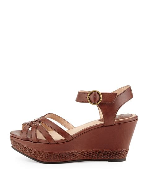 Leather Wedges 2 frye carlie 2 woven leather wedge sandal in brown 8 lyst
