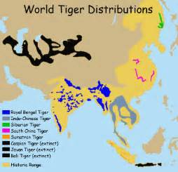 tiger map where do tigers live map