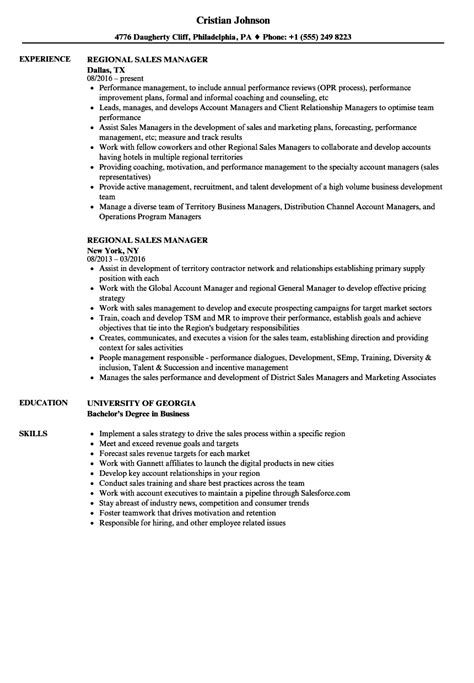 Sales Manager Resume Exles by Regional Sales Manager Resume Sles Velvet