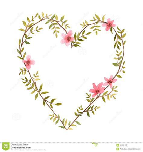 watercolor heart of flowers stock vector image 66480477