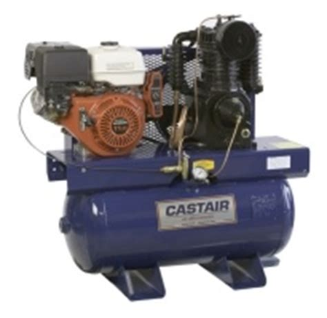 castair gx630 20hp gas air compressor 43 6 cfm 175 psi electric start 30 gallon horizontal tank