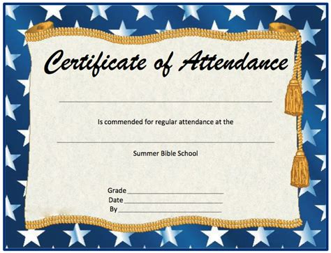 attendance certificate template word certificate of attendance template editable search
