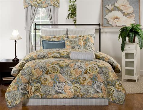 grey and gold bedding 9pc blue mustard brown gray gold english garden 100