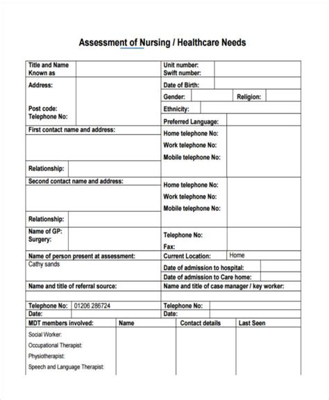 health care needs assessment template gallery templates