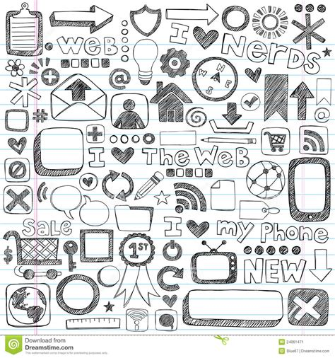 doodle draw icon pack sketchy doodle web icon computer design elements stock
