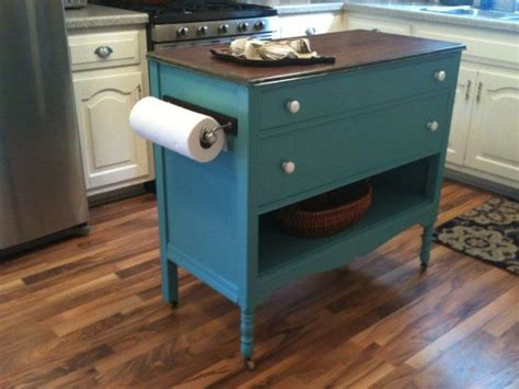 upcycled dresser made into kitchen island replace the top