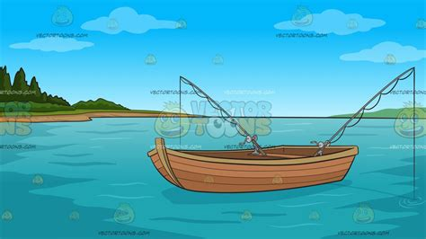 cartoon fishing boat fishing boat on the lake background clipart by vector toons