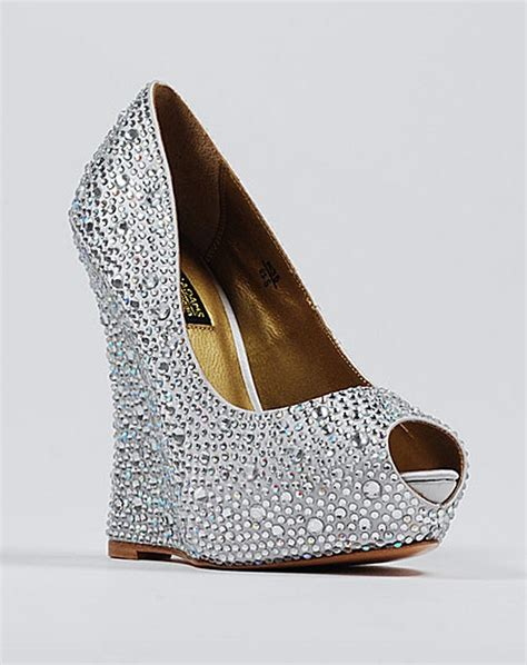 silver wedding shoes wedges wedding accessories