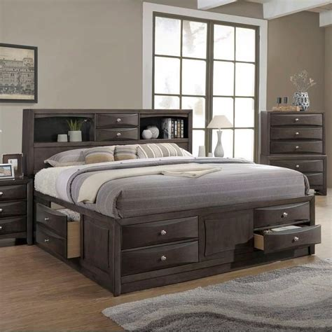 lifestyle todd gray queen storage bed  bookcase headboard royal furniture bookcase beds