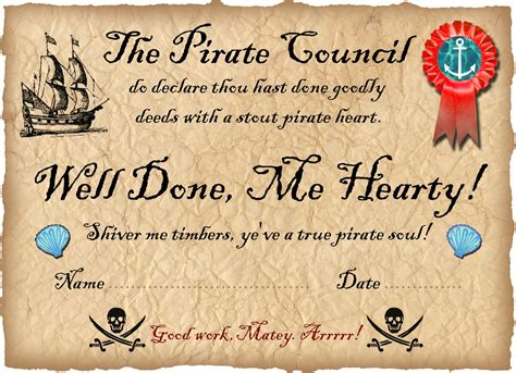 pirate certificate template pirate certificate well done rooftop post printables