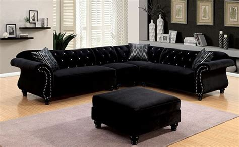 black sectional with ottoman cm6158 jolanda ii black sectional