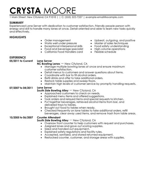 Server Resumes Exles by Best Server Resume Exle Livecareer