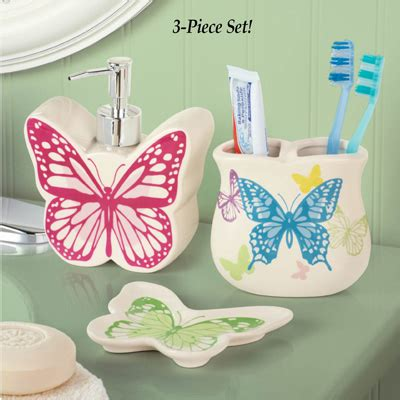 butterfly bathroom accessories butterfly bathroom accessories set 3 pc from collections