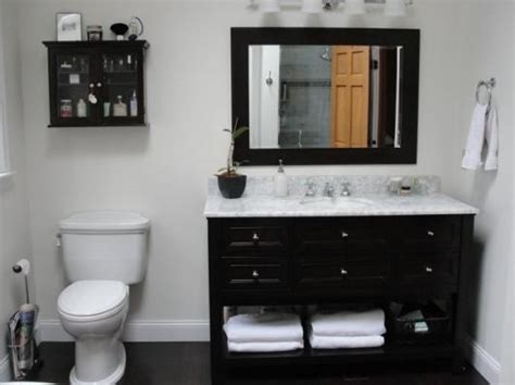 bathroom vanity against wall like the black espresso vanity w white marble countertop