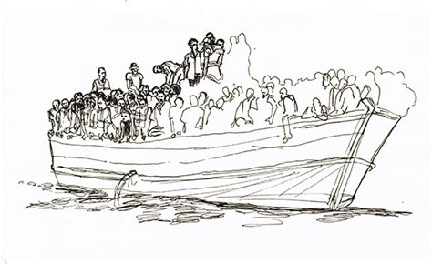 how to draw a refugee boat rescuing migrants at sea on board hms bulwark urban