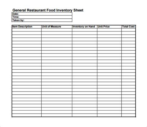 inventory sheets template inventory sheet template 9 free sles exles format