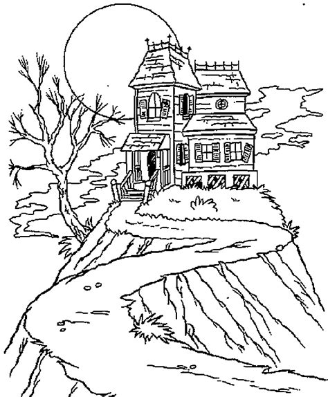 Halloween Coloring Pages Haunted House Coloring Home Haunted House Color Page