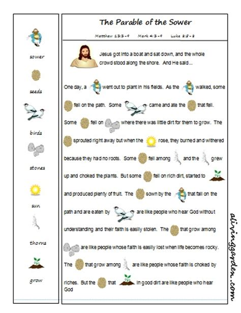 new year printable story parable of the sower rebus catholic crafts general