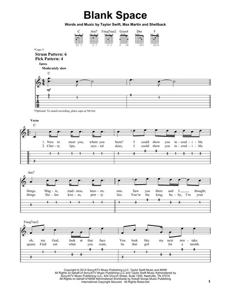taylor swift chord blank space blank space by taylor swift easy guitar tab guitar