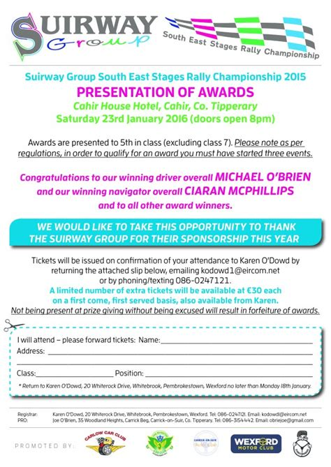 Award Letter Presentation Presentation Of Awards Suirway South East Stages