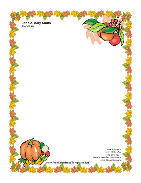 templates for thanksgiving thanksgiving letterhead with pumpkin letterhead