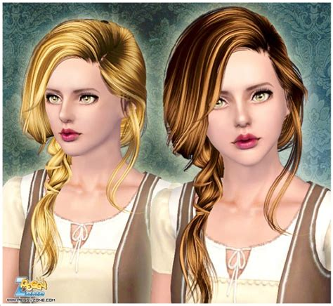 hair braids sims 3 messy side braid id 000068 by peggy zone sims 3 hairs