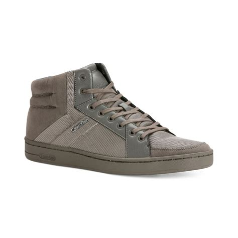 calvin klein sneakers mens calvin klein nickolai hitop sneakers in gray for