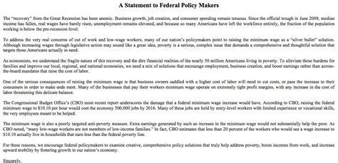 Resignation Letter Minimum Wage Minimum Wage Economists Letter Econlife