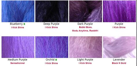 purple hair color chart color chart batty dread creations