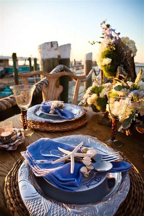 Stunning nautical inspired table setting. Wedding