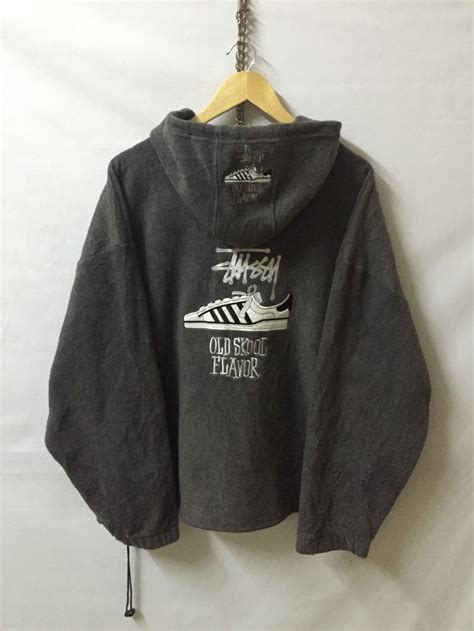 vintage stussy fleece hoodie zipper jacket made in usa big back logo sweatshirt sweater armpit