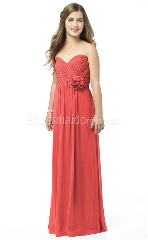 young bridesmaid dress pattern watermelon strapless floor length junior bridesmaid