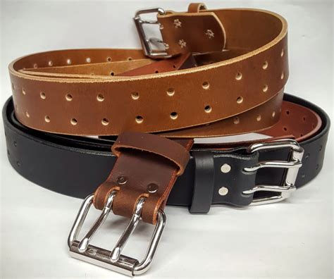 holed leather belt 1 25 inches wide plain leather