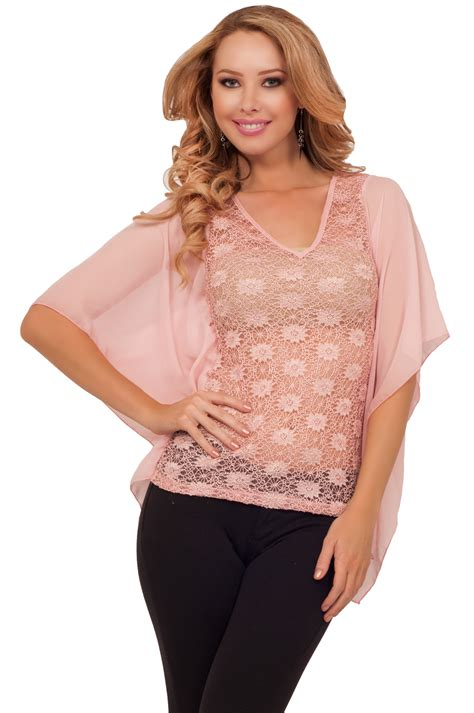 See Through Mesh Top sheer lace mesh drop hanging sleeve see through evening