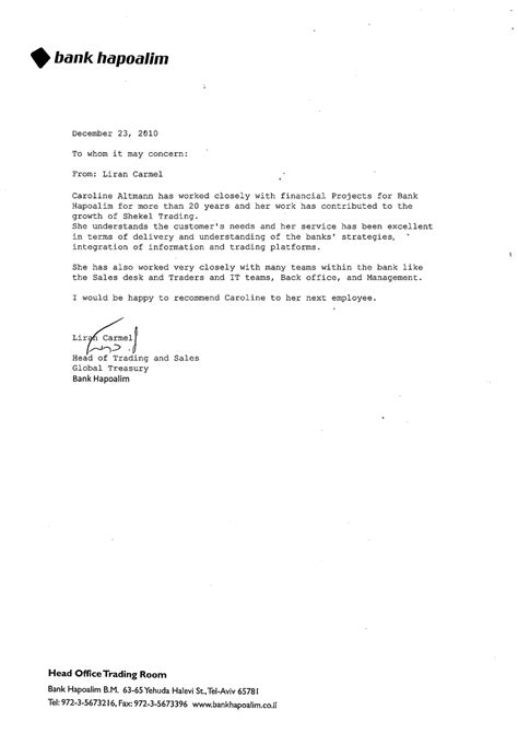 Bank Letter Of Reference Sle Caroline Altmann Financial Sales Business Development Consultant Recommendations