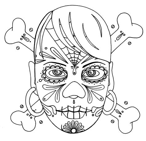 Yucca Flats N M Wenchkin S Coloring Pages Girly Skull Girly Sugar Skull Coloring Pages