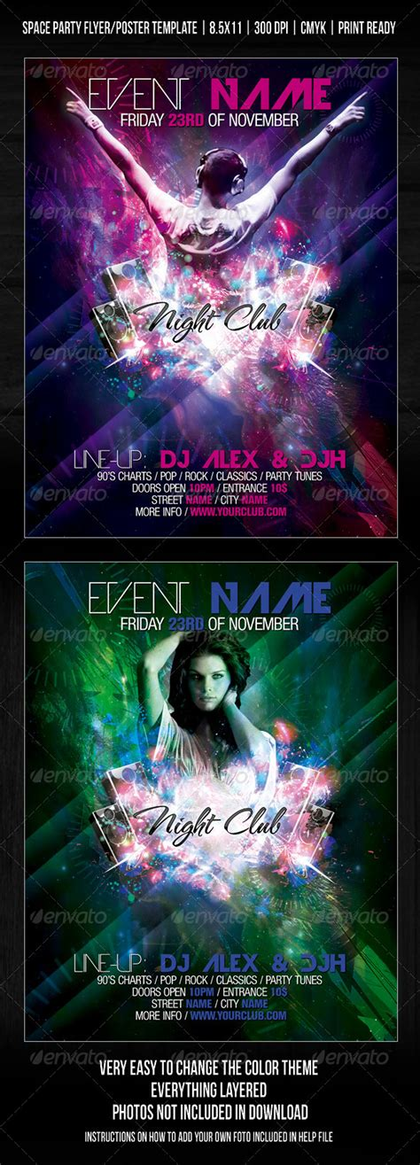 Night Club Space Party Flyer Poster Template V2 Graphicriver Bash Flyer Template V2