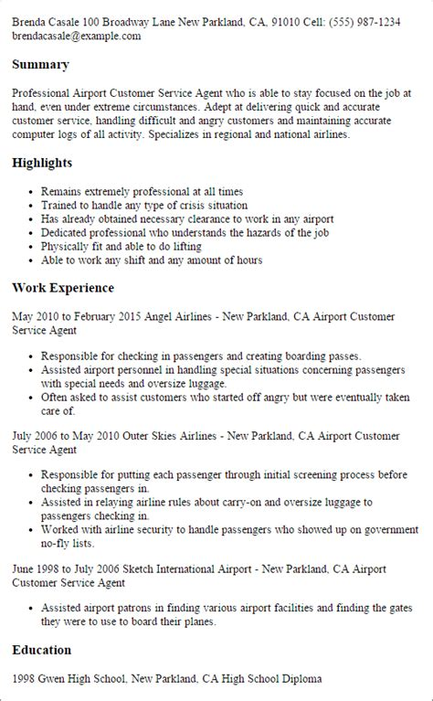 sle resume customer service airport 1 airport customer service resume templates try them now myperfectresume