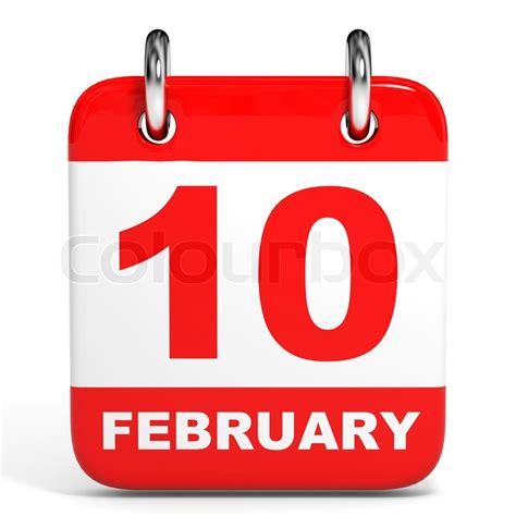 10 feb day calendar on white background 10 february 3d illustration