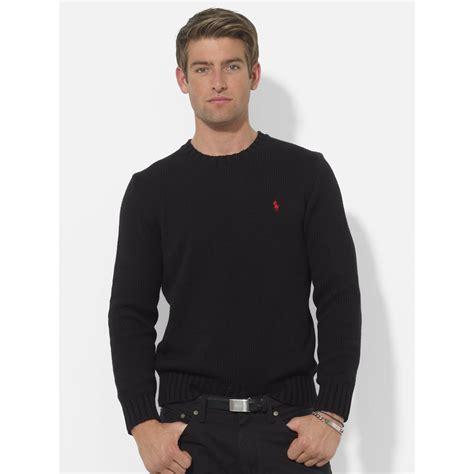 Sweater Polo Ralph lyst polo ralph cotton crewneck sweater in black