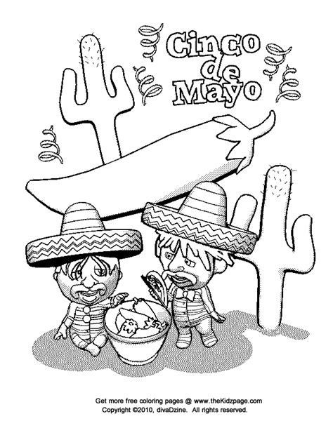 cinco de mayo celebration free coloring pages for kids