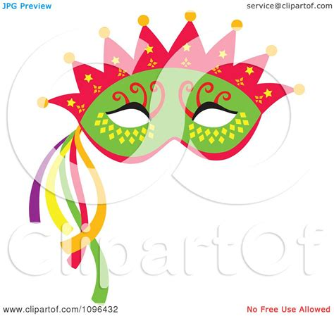 clipart green mardi gras face mask with a crown and
