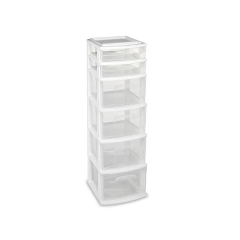 plastic storage cart 6 drawers homz storage cart with 6 drawers in white 05566whec 01