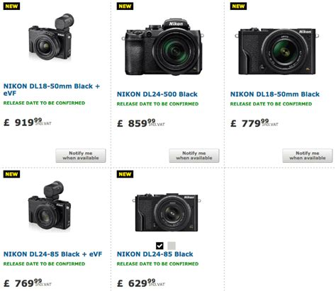 nikon prices nikon dl cameras shipping date now listed as january 2017